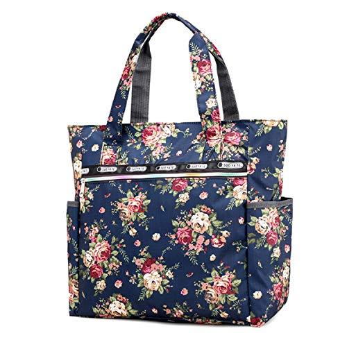 f876b21079e1 Women s Canvas Nylon Floral Multi Pocket Top Handle Tote Handbags Bag  Shoulder Bag Shopping Bags