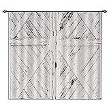 LB Vintage Wooden Farmhouse Door Window Curtains for Living Room Bedroom,Rustic Barn Door Decor Teen Kids Room Darkening Blackout Curtains Drapes 2 Panels,28 By 65 inch Length