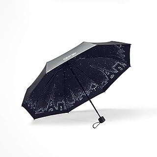 Parapluie Mini Ultra Léger Anti-UV Parapluie Double Usage Huit en Alliage D'aluminium Cadre Cinq Pli Parapluie Coupe-Vent Pliant (Couleur : B)