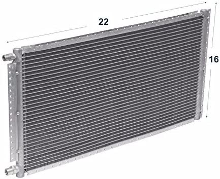 A//C Universal Condenser 16 Height X 22 Width x 0.71 Depth Parallel High Flow O-ring #6 /& #8