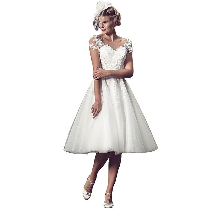 Engerla - Vestido de novia - trapecio - Floral - Manga Corta - Mujer Blanco blanco