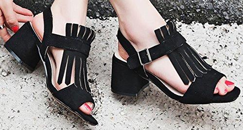Easemax Womens À La Mode Mi Chunky Talon Cheville Boucle Sangle À Bout Ouvert Frange Faux Daim Sandales Noir