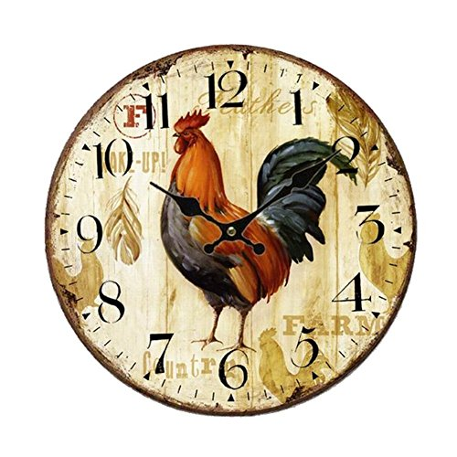 (SkyNature Home Wall Clock, Rooster Retro Style,Silent Non -Ticking Quartz Wooden Clock, Large Wall Art Decorative for Living Room,Kids Room,Kitchen,Cafe or Bar - 14 Inch)