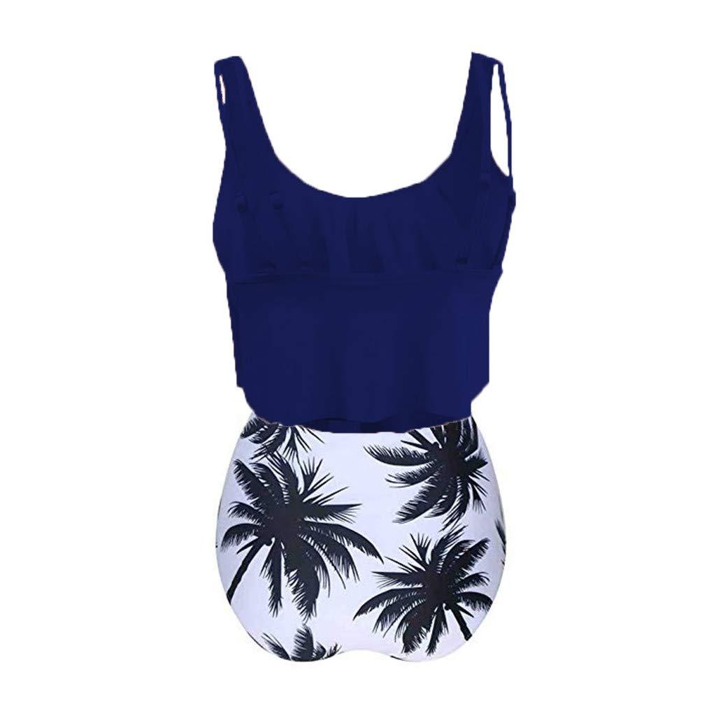 Claystyle Switmsuit Women Bathing Suits Top Ruffled Froset Printed Swimwear High Waisted Bottom Tankini Set