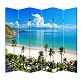 4, 6 or 8 Panel Office Wood Folding Screen Decorative Canvas Privacy Partition Room Divider - Beach Huts(6 Panels)