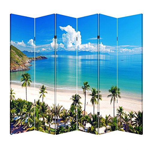 Toa 4, 6 or 8 Panel Office Wood Folding Screen Decorative Canvas Privacy Partition Room Divider - Beach Huts(6 Panels)