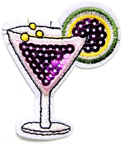 Sexy Martini Costumes (Glass Martini Cocktail Alcoholic Beverage Soft Drink Party Sequin Shine Shiny Patch Sew Iron on Embroidered Applique Craft Handmade Baby Kid Girl Women Sexy Lady Hip Hop Cloths DIY Costume)