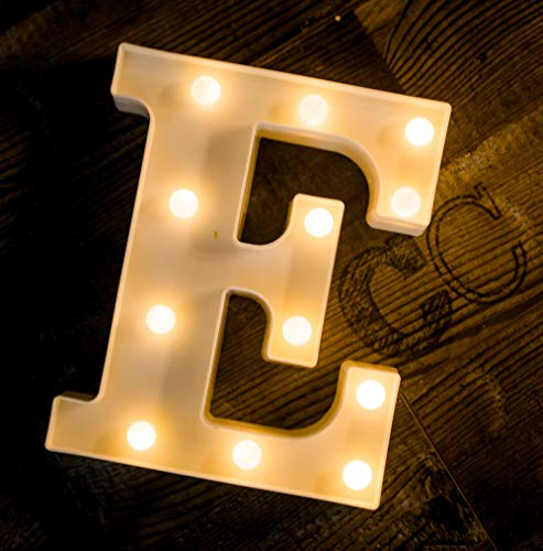 Foaky LED Marquee Letter Lights Sign 26 Alphabet Light Up Marquee Letters Sign for Night Light Wedding Birthday Party Battery Powered Christmas Lamp Home Bar Decoration (E) ()
