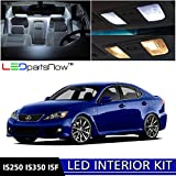 LEDpartsNow Lexus IS250 IS350 ISF 2006-2013 Xenon White Premium LED Interior Lights Package Kit (10 Pieces) + Installation Tool