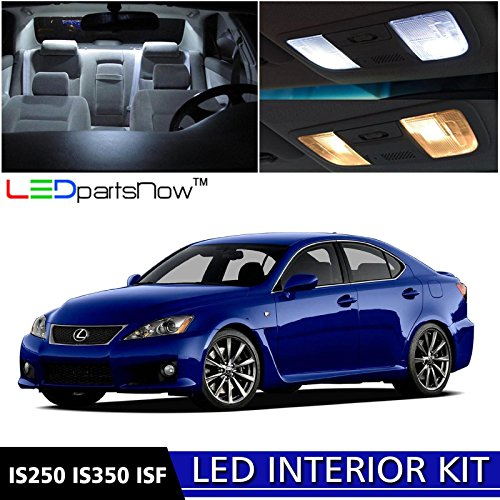 LEDpartsNow 2006-2013 Lexus IS250 IS350 ISF LED Interior Lights Accessories Replacement Package Kit (16 Pieces), WHITE