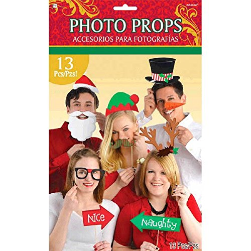 Amscan Festive Christmas Photo Prop Kit Party Supply, Fabric, Pack of 13 Accessory