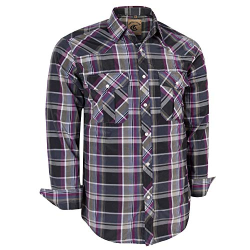 Coevals Club Men's Long Sleeve Casual Western Plaid Snap Buttons Shirt (XL, 14# Purple, Gray)