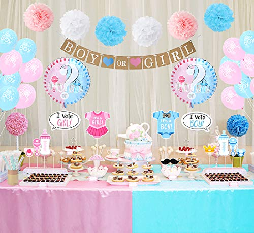 Gender Reveal Party Decorations Boy or Girl Gender Reveal Balloons Photo Booth Props Straws for Baby Shower Decorations 84 -