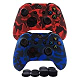 Hikfly Silicone Gel Controller Cover Skin Protector Kits for Xbox One Controller Video Games(2x Controller Camouflage cover with 8 x Thumb Grip Caps)(Blue,Red) Review