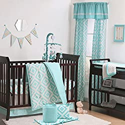 Teal Blue Diamond Tile Boy's 5 Piece Crib Bedding Set with Bumper by The Peanut Shell