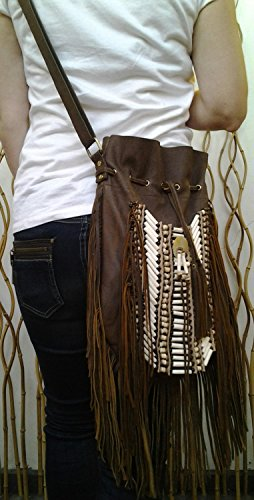 N48G- Borsa in pelle antica indiana grande marrone, borsa in stile americano. Borsa Crossbody