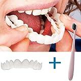Oldeagle Cosmetic Teeth+Toothbrush Set, Temporary Smile Comfort Fit Cosmetic Teeth Denture Teeth Top Cosmetic Sticker for Men, Women