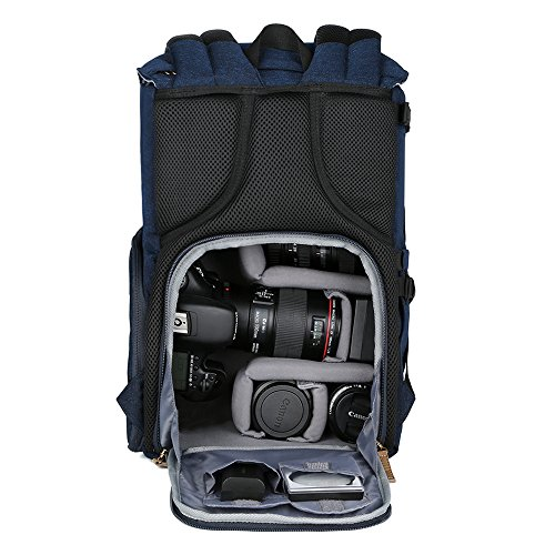 51Ce4DElxqL - K&F Concept Multi-Functional Camera Backpack 600D Polyester Waterproof Photography Equipment Travel Bag for Tripod,DSLR Canon Nikon Sony and Accessory with Rain Cover