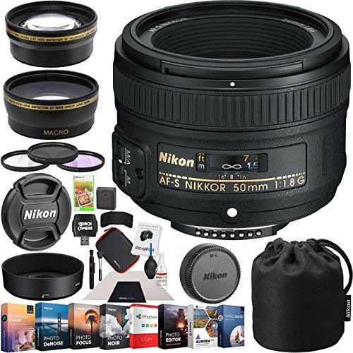 Nikon 50mm f/1.8G AF-S FX NIKKOR Lens Digital SLR Cameras Bundle with Photo and Video Professional Editing Suite, Cleaning Kit for DSLR Cameras, 58mm Filter Kit and Accessories (8 Items) from Nikon