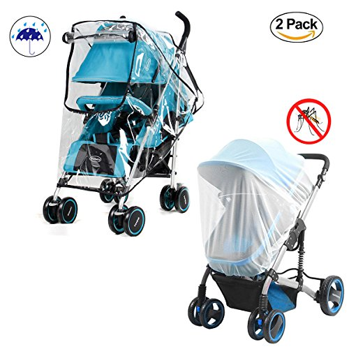 Baby Stroller Rain Cover and Mosquito Net Weather Shield,Universal Waterproof Windproof Protection Baby Stroller Rain Cover for Outdoor Indoor