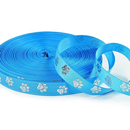 Polyester Grosgrain Ribbon - Glitter Silver Zebra Paw Animal Print Ribbons 10 Yards 5/8