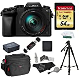 Panasonic DMC-G7HK Digital Single Lens Mirrorless Camera 14-140 mm Lens Kit, 4K + Starter Bundle + Transcend 64 GB High Speed 10 UHS3 + 57 Tripod + Battery + Bag