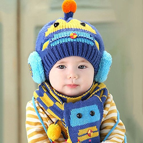 [NEW Baby Beanie Scarf Set Cute Cartoon Toddler Earflap Cap Winter Knitted Hat(Dark Blue)] (Toddler 80s Costumes)