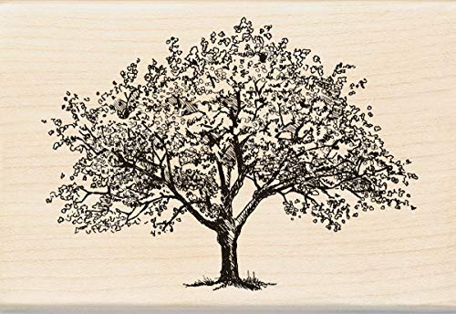 (Inkadinkado Spring Blooming Tree Wooden Mounted Rubber Stamp for Card Making and Scrapbooking, 1pc, 4.02''L x 2.77''W)