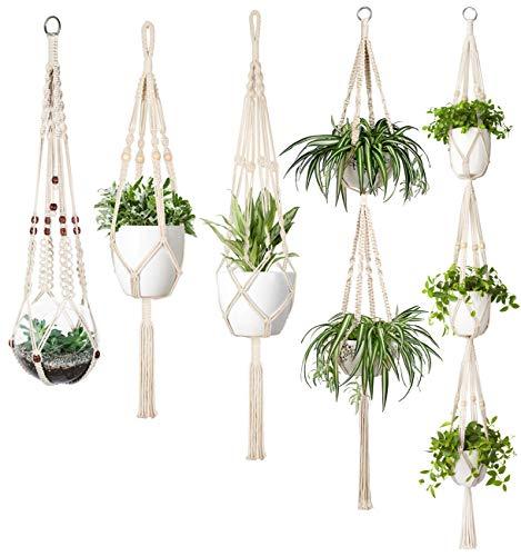 Mkono Macrame Plant Hanger Set of 5 Indoor Wall Hanging Planter Basket Flower Pot Holder Boho Home Decor Gift Box (Boho Home Decor)