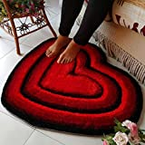 FZFZFZ carpet, European style living room room bedroom Bedside mats child lovely Marriage room Heart-shaped carpet 0.7 0.8m Soft and comfortable (Color : Big red)