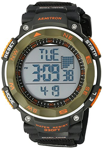 Armitron Sport Men's 40/8377DGN Olive Green Accented Digital Chronograph Black Neoprene Strap Watch