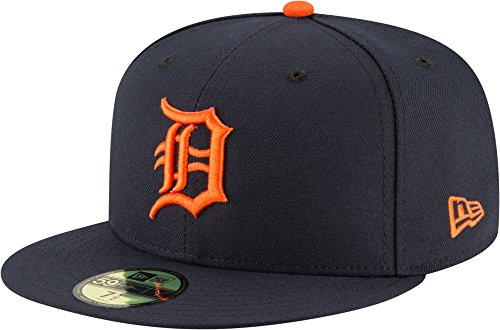 (New Era 59Fifty Hat Detroit Tigers MLB Authentic Road Navy Blue Fitted Cap (7 1/4))