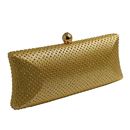 DOREE Womens Evening Clutch with Rhinestone and Crystal Evening Bag Gold by DOREE (Image #1)