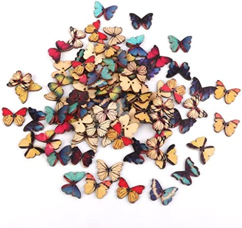 100Psc Kanggest Wooden Buttons Colorful – Round Buttons 2 Holes Buttons for Sewing and Crafting DIY Craft(Butterfly) – The Super Cheap