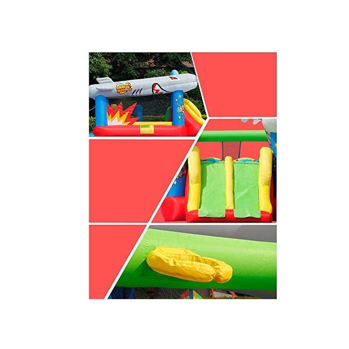 51Ce5jjIcsL El castillo hinchable hará que todos los niños felices, lo que traerá mucha felicidad a sus hijos, pueden compartir el tiempo de juego valioso con los amigos. Tamaño de medios: Oxford tela respetuosa del medio ambiente, de PVC; 570x270x230cm; castillos hinchables, bolsa de agua y 30 bolas juguetes incluidos. ultiple deportes combinados con diseño especial para los ancianos 3-10: escalada, toboganes, área, aro de baloncesto, piscina de bolas y el océano saltando bajo este gorila inflable tiene muchos deportes diferentes que mantendrán chico de 3 años de edad, para encontrar su apretada 10favorito.