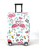 Periea Elasticated Suitcase Luggage Cover - 28 Different Designs - Small, Medium or Large (White with Summer Flamingos, Small)