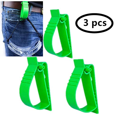 3Pcs Pack green Glove Clip Carrier Accessory Utility Catcher Clip Belt Clip Attachment For Gloves,Hard Hats, Ear Muff Clip, Ear Protection Clip, Helmets,With Belt Clip