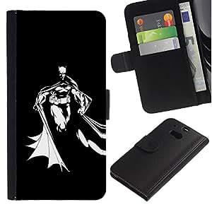 UNIQCASE - HTC One M8 - Black White Bat Superhero - Cuero PU Delgado caso cubierta Shell Armor Funda Case Cover