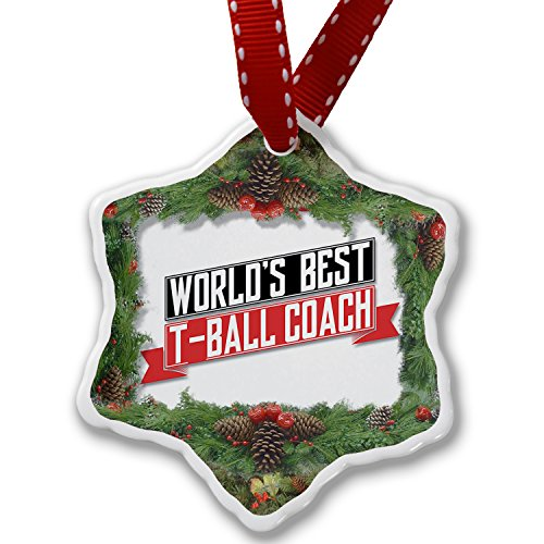 Christmas Ornament Worlds Best T-Ball Coach - Neonblond by NEONBLOND (Image #1)