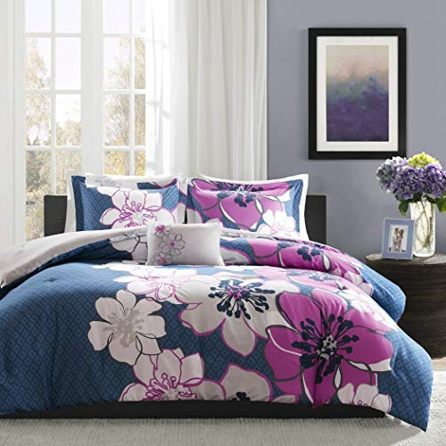 4 Piece Girls Blue Purple Grey Floral Theme Comforter Full Queen Set, Pretty Abstract Flower Motif Bedding, Beautiful Multi Color Summer Flowers Themed Pattern, White Magenta Fuchsia Gray Black - Beautiful Summer Flowers