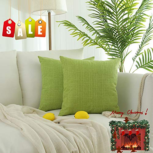 Kevin Textile Bright Cotton Linen Decorative Throw Pillow Case Cushion Cover Checkers Weaving Linen Pillowcase for Sofa, Set of 2, 18 x 18 Inch, Glow Green