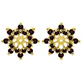 1/2 ct. Diamonds (G-H,I1-I2) and Ruby Genuine Ruby and Diamond Cluster Style Earring Jacket in 10k Yellow gold (0.48 ct. twt.)