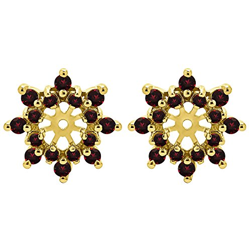 0.96 ct. Ruby Genuine Ruby Cluster Style Earring Jacket in 14k Yellow Gold (0.96 ct. twt.) by TwoBirch