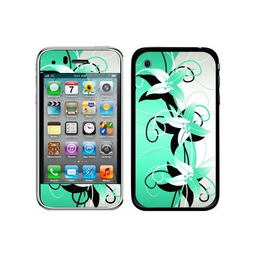 Iphone 3g 3 Gs Flower (Graphics and More Protective Skin Sticker Case for iPhone 3G 3GS - Non-Retail Packaging - Flower Power Blue Green Turquoise)