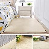 CqmzpdiC Solid Color Rectangle Thicken Carpet Rug Floor Mat Living Room Bedroom Decor Fluffy Soft Warm Cozy Romantic and Attractive Stylish and Modern Comfortable Practical Creative Mat Beige 80*200cm