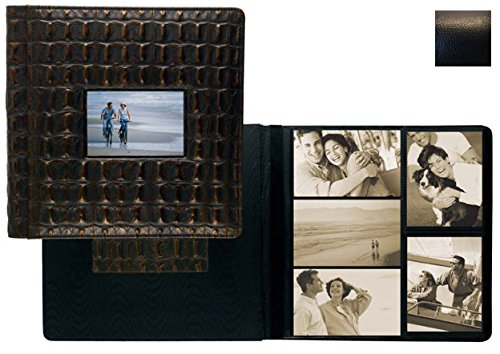 RODEO BLACK pebble grain leather #113D window album with Scrapbook pages by Raika - 8x10 by Raika®