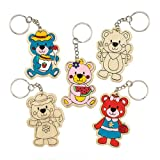 Baker Ross Teddy Bear's Wooden Colour-In Keyrings (Pack Of 6) For Kids To Decorate
