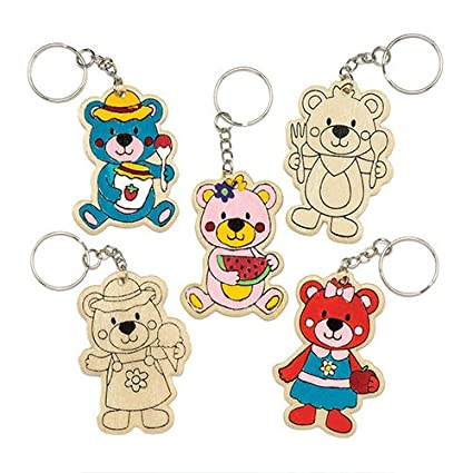 Baker Ross Teddy Bears Wooden Colour-in Keyrings (Pack of 6) for Kids to Decorate