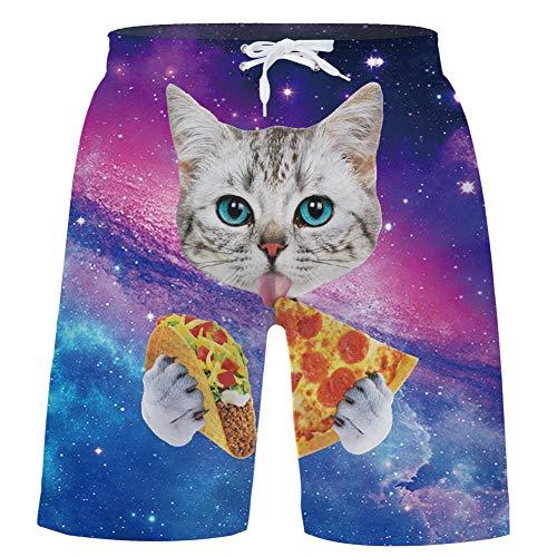 Unique Design Boys Swim Trunk Pizza Cat 13Y Stretch Silly Boyshorts Rave Shorts for Todder Guys Little Boy Blue