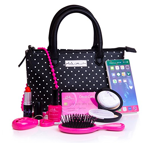 PixieCrush Pretend Play Kid Purse Set for Girls with Handbag, Pretend Smart Phone, Keys with Remote, Pretend Makeup, Lipstick - Interactive & Educational Toy (Black Polka Dot)